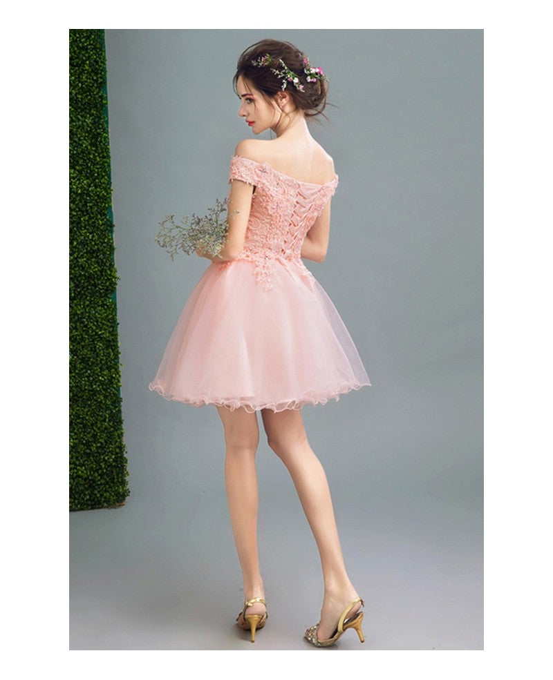 7d27eb5036b Pink Homecoming Dress Off-the-shoulder Lace A-line Short Prom Dress Cute ...