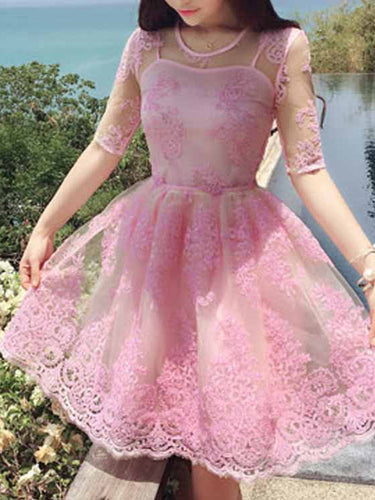 Cute Homecoming Dress A-line Scoop Appliques Half Sleeve Short Prom Dress Party Dress JK501