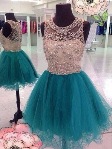 Chic Homecoming Dress Scoop A-line Rhinestone Short Prom Dress Tulle Party Dress JK503