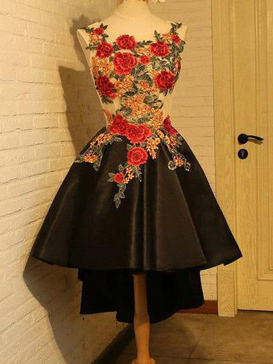 323bc1e1947 High Low Homecoming Dress Scoop A-line Appliques Short Prom Dress Black  Party Dress JK504
