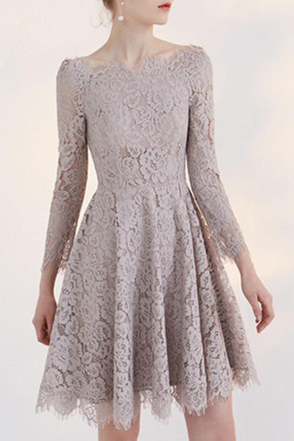 b53831e358 ... Lace Homecoming Dress A-line Off-the-shoulder Long Sleeve Short Prom  Dress ...