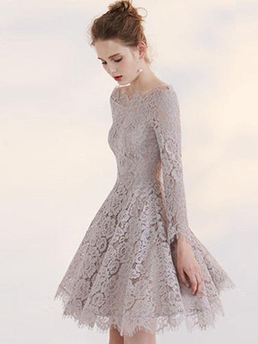 Lace Homecoming Dress A-line Off-the-shoulder Long Sleeve Short Prom Dress Chic Party Dress JK505