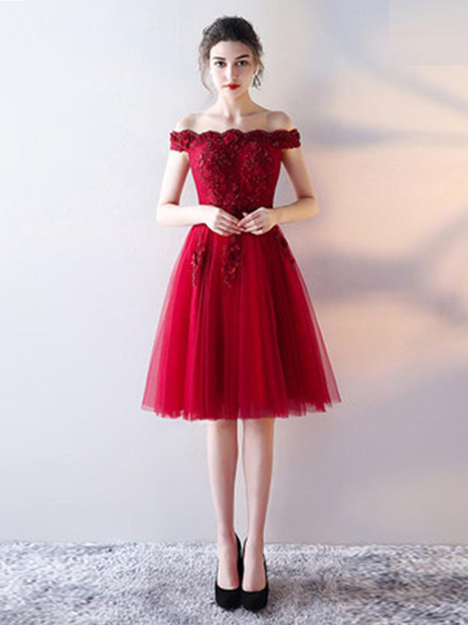 6c5ff89fd4 Burgundy Homecoming Dress Off-the-shoulder A-line Lace Short Prom Dress  Party