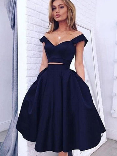 Sexy Homecoming Dress A-line Off-the-shoulder Tea-length Short Prom Dress Chic Party Dress JK510