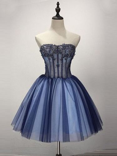 Chic Homecoming Dress Strapless A-line Beading Short Prom Dress Tulle Party Dress JK512
