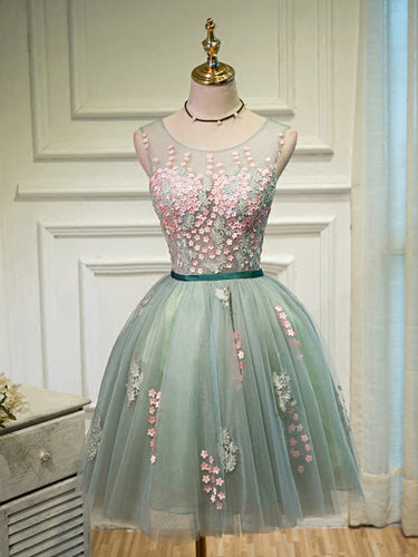 Lace Homecoming Dress Scoop A-line Tulle Lace-up Short Prom Dress Sexy Party Dress JK513