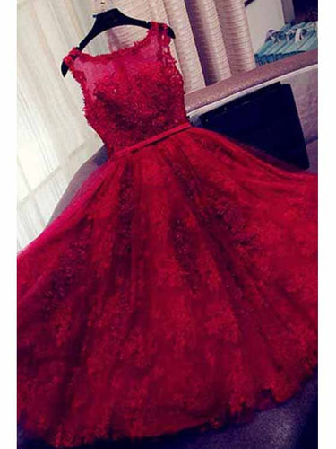 Burgundy Homecoming Dress Scoop A-line Appliques Short Prom Dress Lace Party Dress JK517