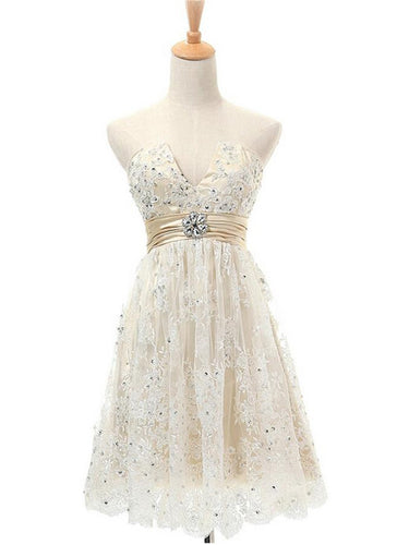 Lace Homecoming Dress A-line V-neck Ivory Lace Short Prom Dress Chic Party Dress JK518