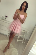 Chic Homecoming Dress Off-the-shoulder A-line Tulle Pink Short Prom Dress Sexy Party Dress JK521