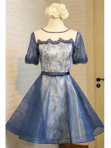 Lace Homecoming Dress Scoop A-line Lace-up Short Prom Dress Tulle Party Dress JK523