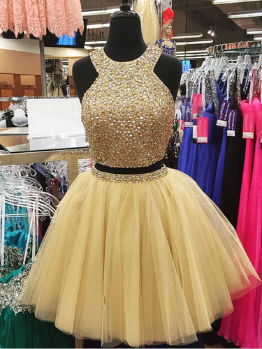 Two Piece Homecoming Dress Scoop Rhinestone A-line Tulle Short Prom Dress Sexy Party Dress JK524