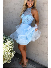 Sexy Homecoming Dress A-line Halter Rhinestone Light Sky Blue Short Prom Dress Party Dress JK525|Annapromdress