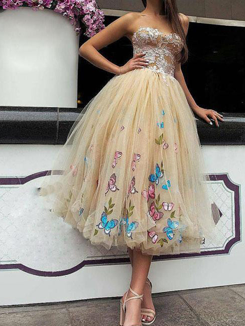 short butterfly prom dresses