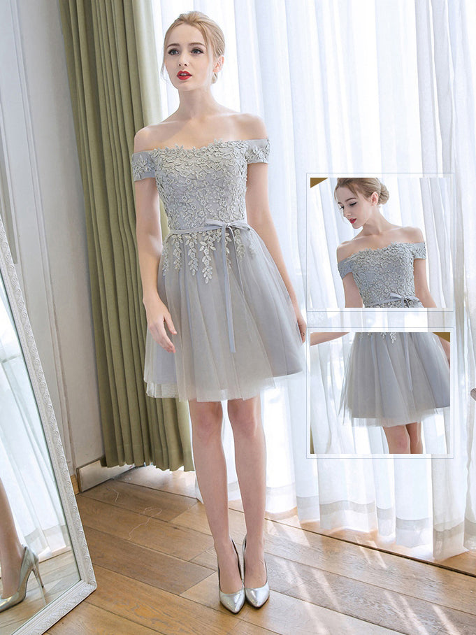 86430f0075b Cute Homecoming Dress Off-the-shoulder A-line Lace-up Tulle Short ...
