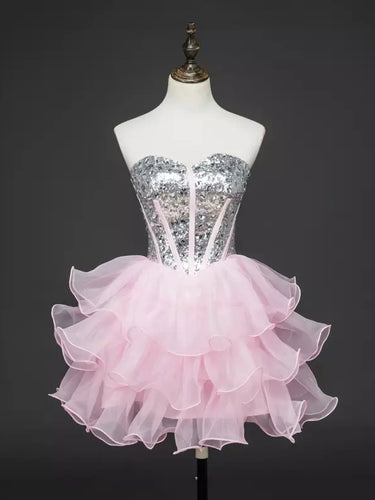 Chic Homecoming Dress Sweetheart Ball Gown Sequins Pink Short Prom Dress Party Dress JK535