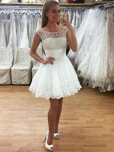 Sexy Homecoming Dress A line Scoop Beading Tulle Short Prom Dress Party Dress JK537