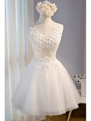 Cute Homecoming Dress V-neck A-line Lace White Tulle Short Prom Dress Sexy Party Dress JK542