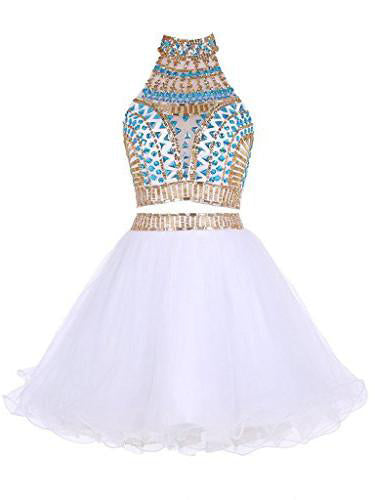 Two Piece Homecoming Dress High Neck A-line Rhinestone White Short Prom Dress Party Dress JK544