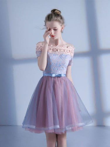 Lace Homecoming Dress A Line Off-the-shoulder Short Sleeve Short Prom Dress Party Dress JK546