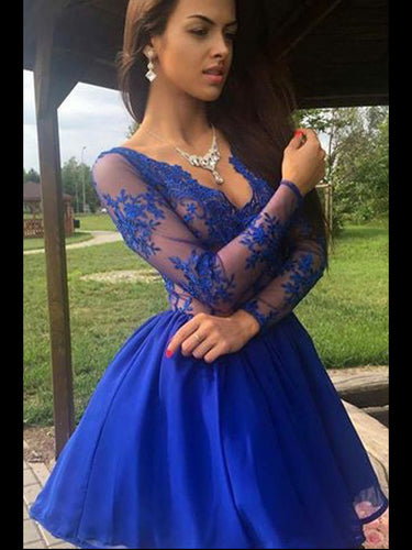 Royal Blue Homecoming Dress A-line V Neck Appliques Chiffon Short Prom Dress Party Dress JK549