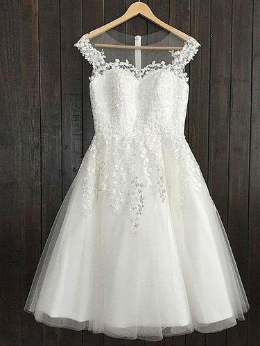 White Homecoming Dress A-line Scoop Appliques Tulle Short Prom Dress Party Dress JK550