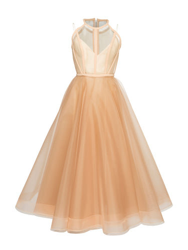 Chic Homecoming Dress Scoop A-line Tulle Sexy Tea-length Short Prom Dress Party Dress JK551