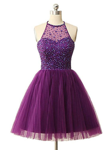 Sexy Homecoming Dress Scoop A-line Rhinestone Tulle Sexy Short Prom Dress Party Dress JK552