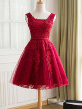 Burgundy Homecoming Dress Straps A-line Lace Appliques Lace-up Short Prom Dress Party Dress JK553