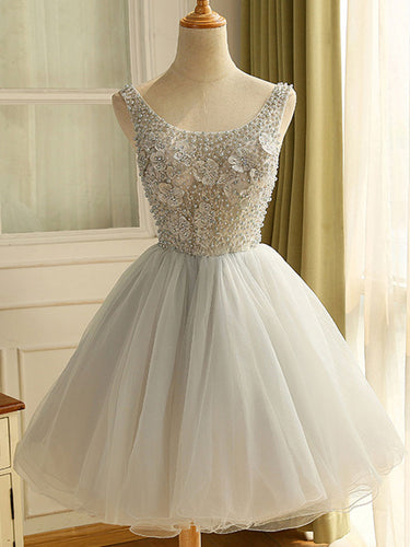 Cute Homecoming Dress Straps Scoop A-line Lace Beading Cute Short Prom Dress Party Dress JK554