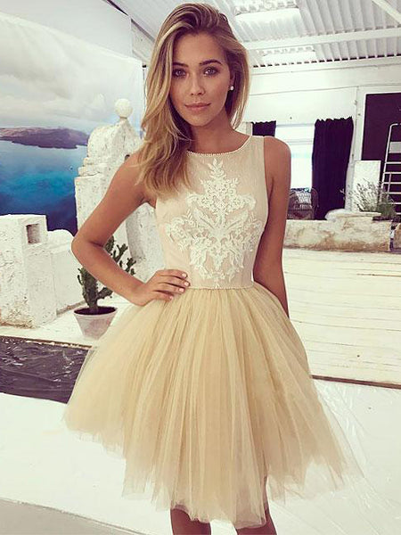 Cheap Homecoming Dress Scoop A-line Tulle Short Prom Dress Party Dress JK556
