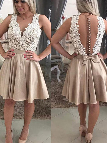 Sexy Lace Homecoming Dress V-neck A-line Beautiful Short Prom Dress Party Dress JK559