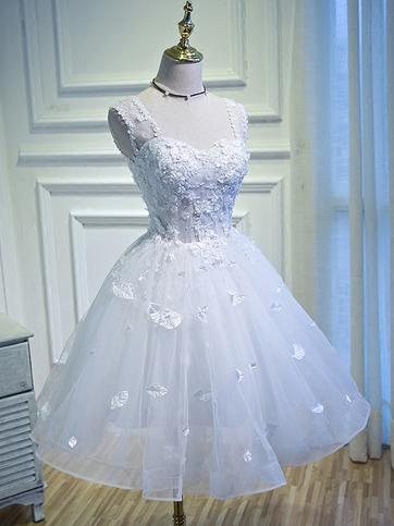 White Homecoming Dress Straps Sweetheart A-line Lace Short Prom Dress Party Dress JK561|Annapromdress