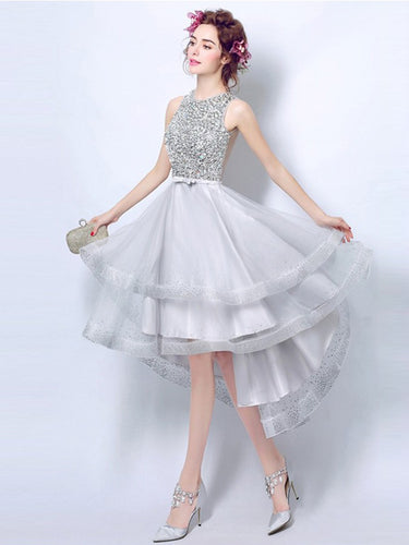 High Low Homecoming Dress Scoop A-line Rhinestone Short Prom Dress Party Dress JK562|Annapromdress