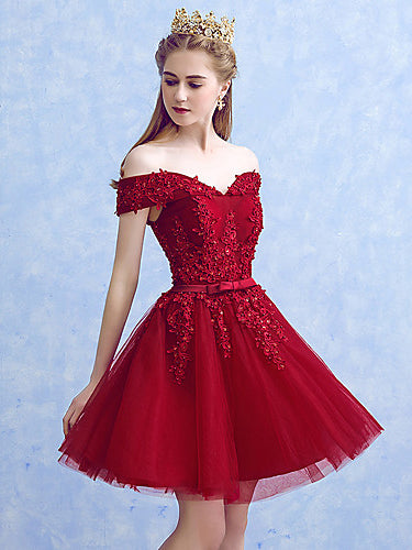 Burgundy Homecoming Dress Off-the-shoulder A-line Short Prom Dress Party Dress JK565|Annapromdress