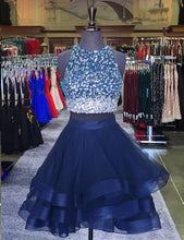 Two Piece Homecoming Dresses Scoop A-line Beading Short Prom Dress Party Dress JK568|Annapromdress