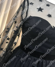 Long Sleeve Homecoming Dresses Stars Lace Short Black Prom Dress Party Dress JK569|Annapromdress