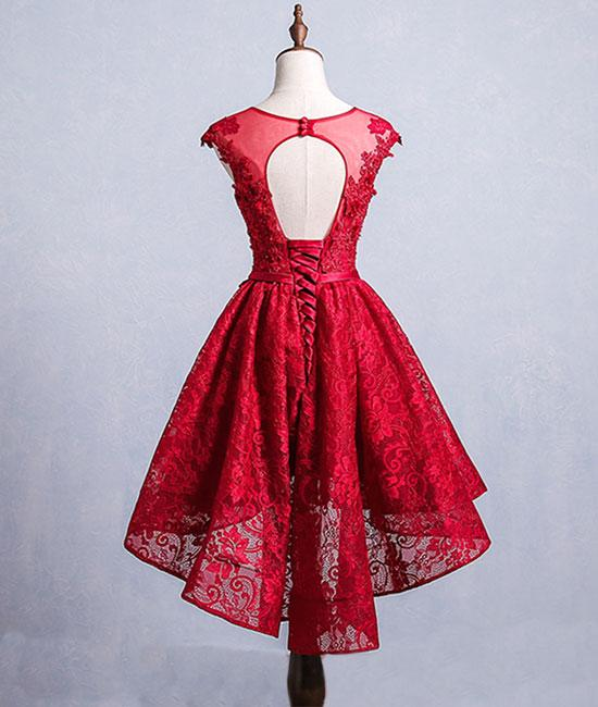 188d8d44515 ... High Low Homecoming Dresses Scoop A-line Red Short Prom Dress Lace  Party Dress JK570 ...