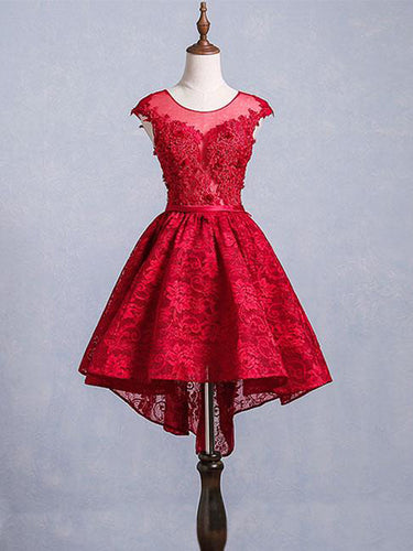 High Low Homecoming Dresses Scoop A-line Red Short Prom Dress Lace Party Dress JK570|Annapromdress