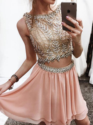 Two Piece Homecoming Dresses Bateau A-line Short Prom Dress Rhinestone Party Dress JK571|Annapromdress