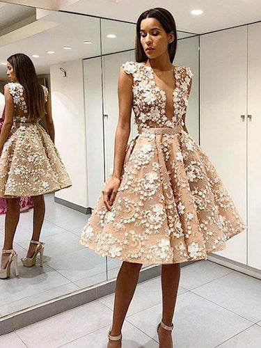 Beautiful Homecoming Dresses A-line Short Lace Prom Dress Party Dress JK573|Annapromdress