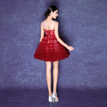 Burgundy Homecoming Dresses Ball Gown Lace Short Prom Dress Party Dress JK580|Annapromdress