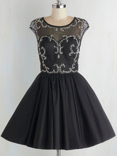 Chic Homecoming Dresses Beading Little Black Dress Short Prom Dress Party Dress JK584|Annapromdress