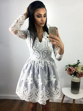 Long Sleeve Homecoming Dresses V-neck A-line Lace Short Prom Dress Party Dress JK585|Annapromdress
