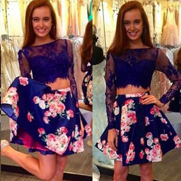 Two Piece Homecoming Dresses Floral Print Long Sleeve Short Prom