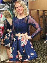 Two Piece Homecoming Dresses Floral Print Long Sleeve Short Prom Dress Party Dress JK588|Annapromdress