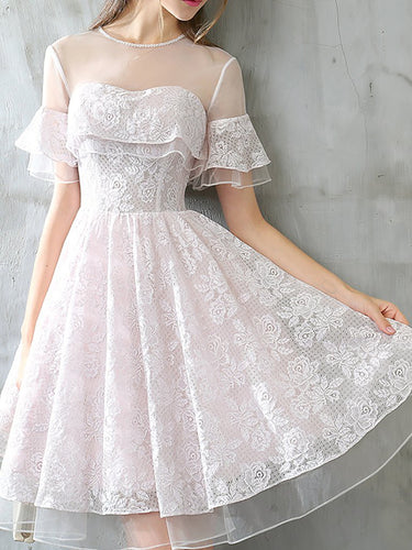 Lace Homecoming Dresses Aline Beautiful Short Prom Dress Party Dress JK593|Annapromdress