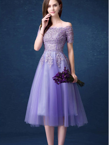 Lilac Homecoming Dresses Off-the-shoulder Chic Short Prom Dress Party Dress JK594|Annapromdress