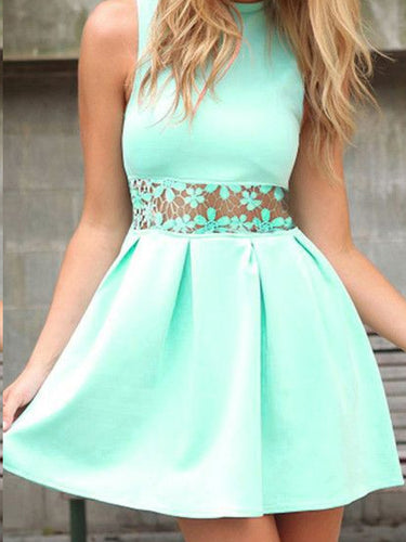 Chic Homecoming Dresses Lace A Line Simple Short Prom Dress Party Dress JK600|Annapromdress