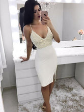 Beautiful Homecoming Dresses Beading Slit Sheath Sparkly Prom Dress Party Dress JK602|Annapromdress