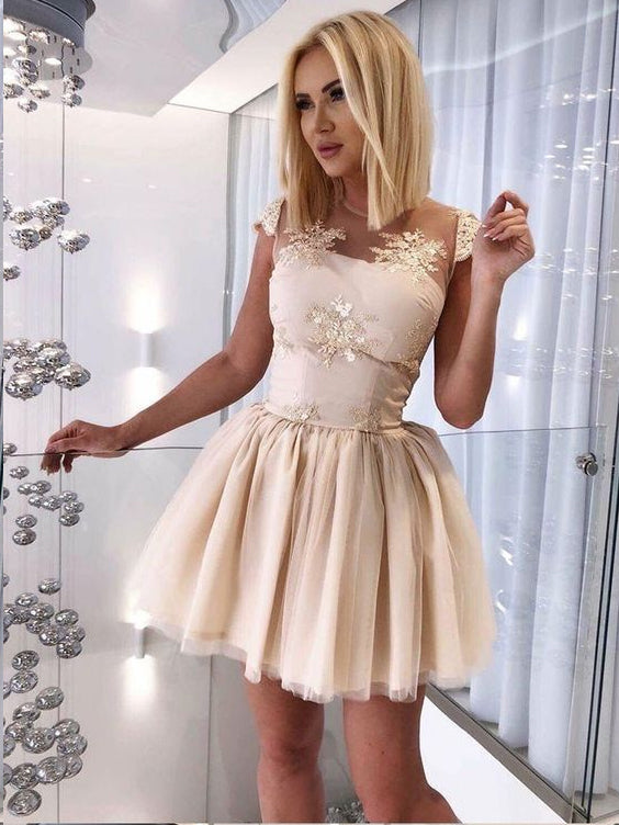 Lace Homecoming Dresses Scoop Aline Short Prom Dress Cheap Party Dress JK605|Annapromdress